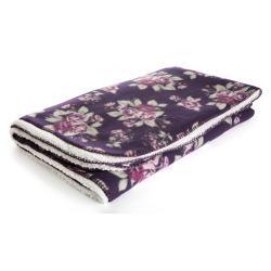Sherpapledd m/fleece forside blomsterprint plomme