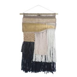 Veggdekor i garn blå/gull H:76 cm