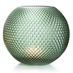 Vase rund glass grønn m/diamantmønster H:22 cm