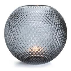 Vase rund glass sotfarget m/diamantmønster H:22 cm