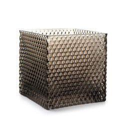 Lysglass firkantet m/diamantmønster grå H:12