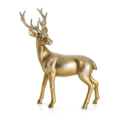 Reinsdyr gull m/glitter H:18 L:22 cm