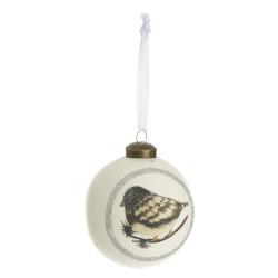 Julekule hvit m/fugledekor Ø:8 cm