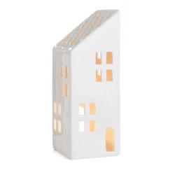 Dekorhus for telys hvit med skråtak H:27 cm