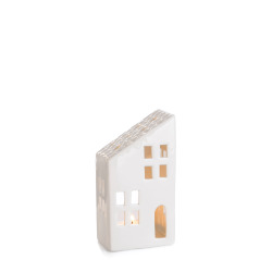 Dekorhus for telys hvit med skråtak H:14 cm