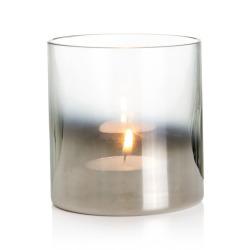 Telysglass sotet/sølv H:11 cm
