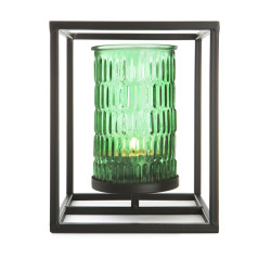 Telysholder i grønt glass i metallstativ