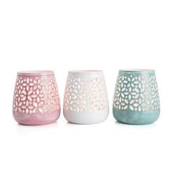 Lysglass i metall 3 ass mint/rosa/hvit H:10