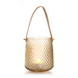 Lysglass diamantmønster lys brun m/håndtak i PU H:15 cm
