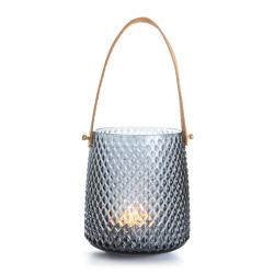 Lysglass diamantmønster sotfarget m/håndtak i PU H:15 cm