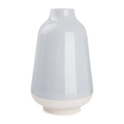 Vase i stengods lys blå m/naturfarget bunn H:29