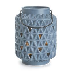 Lyslykt m/håndtak blå struktur H:14 cm
