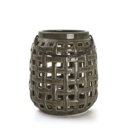 Lykt i porselen rutemønster grå H:14 cm