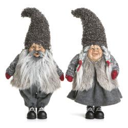 Nisse 2 ass mann/kone grå H:43 cm