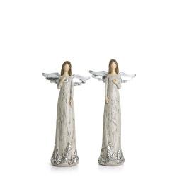 Engel 2 ass polyresin grå m/sølv H:19 cm