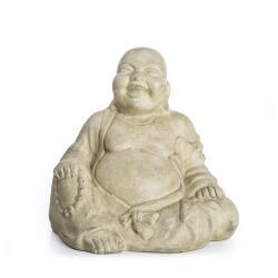 Figur Buddha sittende keramikk sandfarget