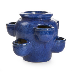 Jordbærpotte H:35 cm keramikk blå
