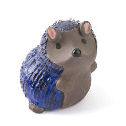 Pinnsvin keramikk lite grå/blå