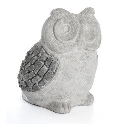 Dekorfigur ugle skifer grå H:26 cm