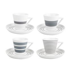 Kopp/skål 4 sett Stripes grå