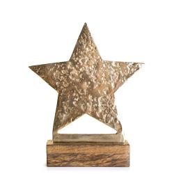 Dekorfigur Lodge stjerne på fot gull 25 cm