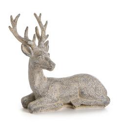 Dekorreinsdyr Nostalgi liggende grå 14 cm
