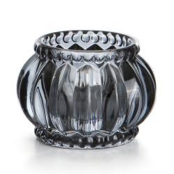 Telysglass Romanse 2 pk mørk grå ø:7 cm