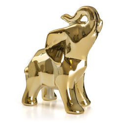 Dekorfigur Retro elefant gull 14 cm