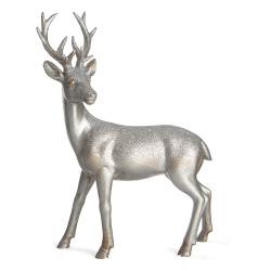 Reinsdyr sølv m/glitter H:18 L:22 cm
