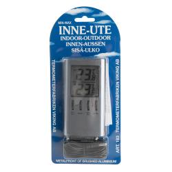Termometer Digitalt inne/ute grå aluminium