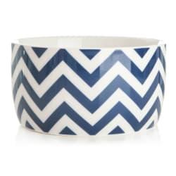 Bolle m/striper Ø:17 cm hvit/blå