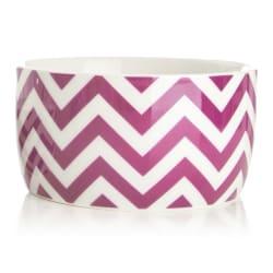 Bolle Ø:17 cm m/ striper hvit/rosa