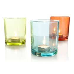 Telysglass 3ass grønn/orange H:10 cm