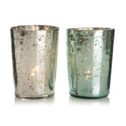 Telysglass 2 ass antikk sølv/lys petrol/ grå H:10 cm