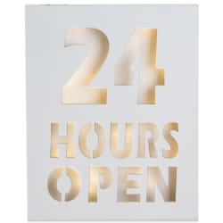 "Bilde m/LED lys ""24 hours open"" H:30 cm"