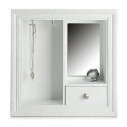 Smykkeskap m/1 skuff og speil hvit