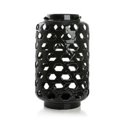 Lykt m/hank sort keramikk H:45/57 Ø:27 cm