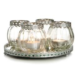 Lysfat speil rundt m/4 stk lysglass klart glass