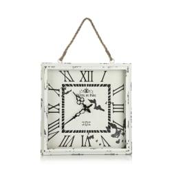 Klokke m/tauoppheng krem antikk 39x39 cm