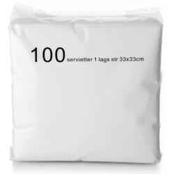 Serviett 1-lags 100 stk hvit