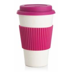 Kaffekrus m/silikonlokk rosa 400 ml