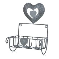 Hjerte kurv til vegg metall børstet grå