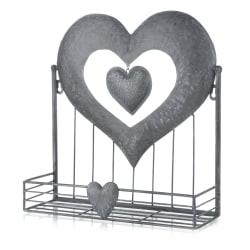 Hjerte hylle metall børstet grå