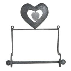 Hjerte toalettrullholder vegg metall børstet grå
