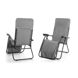 Strandhåndkle m/hette til å henge over stol grå