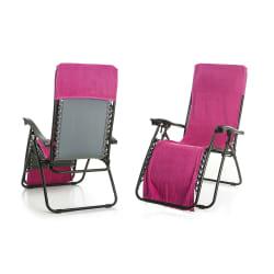 Strandhåndkle m/hette til å henge over stol cerise
