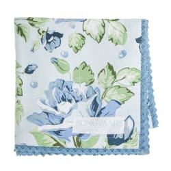 Duk med rosemønster i blåtoner Songvaar 90x90 cm