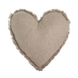 Pute Lill i filt m/hjerteform beige 45x45 cm