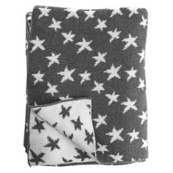 Pledd strikket grå m/hvite lurex stjerner 130x170 cm