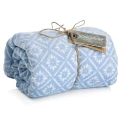Strandhåndkle lys blå m/hvitt mønster 75x150 cm